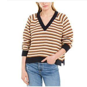 MADEWELL Arden Striped VNeck Cotton Sweater Yellow